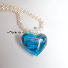 Handblåst Glashänge: Stort Hjärta - Turkos med Rosa Swirl!