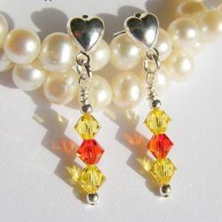 1 par Hjärte Örhängen Swarovski Crystals: FireOpal & Lt Topaz