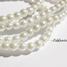 6mm Pearlecent Glaspärlor - 10st Vita
