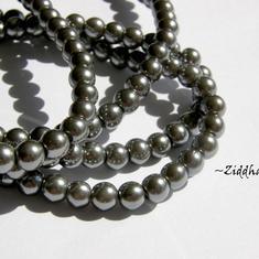 6mm Pearlecent Glaspärlor - 10st Hematite /Dk Silver