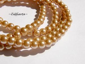 6mm Pearlecent Glaspärlor - 10st GuldNougat