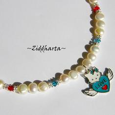 #13 Necklace Hello Kitty Angel LOVE Wings Enamel Pendant Freshwaterpearls & Swarovski Crystals Handmade Jewelry and Beadings by Ziddharta