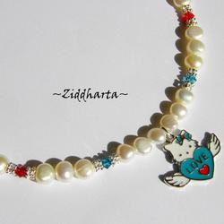 #13 Necklace Hello Kitty Angel LOVE Wings Enamel Pendant Freshwaterpearls & Swarovski Crystals Handmade Jewelry and Beadings by Ziddharta