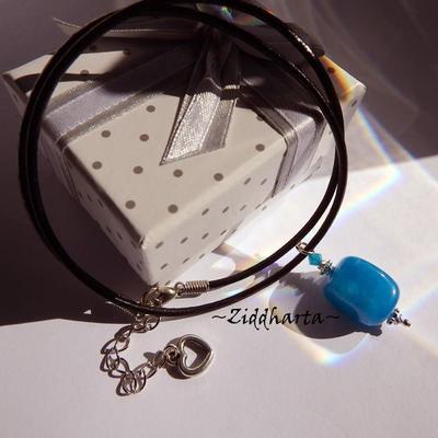 Gem Stone Necklace Caribbean Blue Quartz Necklace Swarovski Caribbean Blue Opal Halskette Kragen Necklace - Handmade Jewelry by Ziddharta