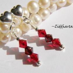 1 par Hjärte Örhängen Swarovski Crystals: Garnet & Siam