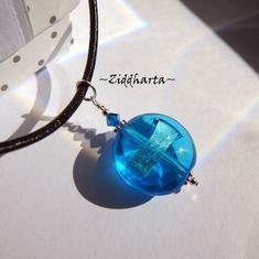 Blue Sapphire LampWork Necklace Sapphire SilverFoil Swarovski Necklace Halskette Kragen Halsband Necklace - Handmade Jewelry by Ziddharta