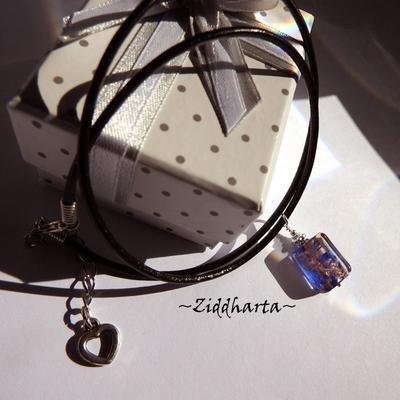 Handmade Dark Blue LampWork Necklace Cobolt GoldSand Necklace Halskette Kragen Halsband Necklace - Handmade Jewelry Necklaces by Ziddharta