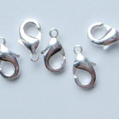 12mm SP Karbinlås - 25st Smyckeslås Silverpläterade