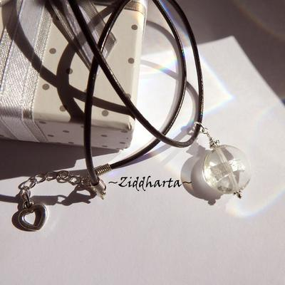 Crystal LampWork Necklace SilverFoil Necklace Halskette Kragen Silver Plated Halsband Necklace - Handmade Jewelry Necklaces by Ziddharta