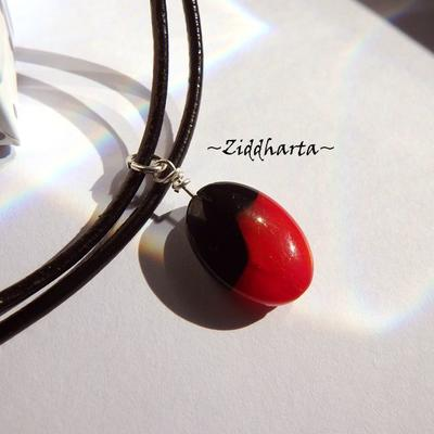 Oval LampWork Opaque Black Blood Red Necklace on Cord LampWork Necklace Glass handmade Pendant - Handmade Jewelry Necklaces by Ziddharta