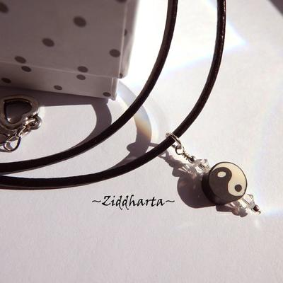 Yin Yang Black White Pendant Necklace on Cord YOGA Necklace Clay Swarovski Crystal YinYang Buddha Pendant - Jewelry by Ziddharta of Sweden