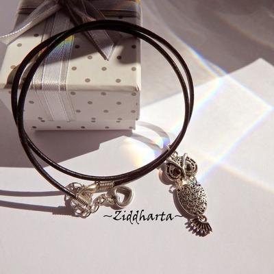 AS OWL Necklace Antique Silver Finish handmade Pendant Eule Halskette Kragen Halsband Uggla Necklace - Jewelry Handmade by Ziddharta