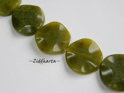 Centerpiece: Olive New Jade - 30mm COIN Wavy #6434