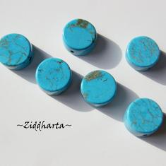 Turquoise Flat Coin 11x5mm