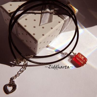 Handmade RED LampWork Necklace Rubin GoldSand Necklace Halskette Kragen Halsband Necklace - Handmade Jewelry Necklaces by Ziddharta Sweden