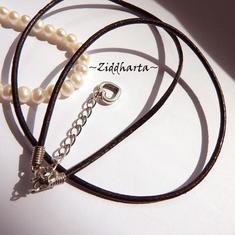 Svart Smyckesrem Läder - inklusive lås, förlängningskedja & hjärta