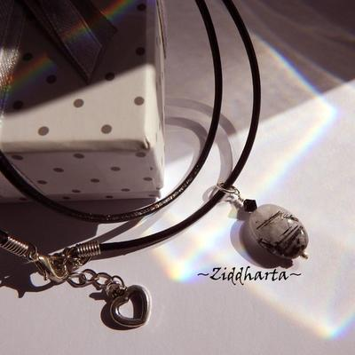 Black banded Quartz Necklace Stone handmade Pendant Necklace Halskette Kragen Halsband Swarovski Necklace - Jewelry Necklaces by Ziddharta