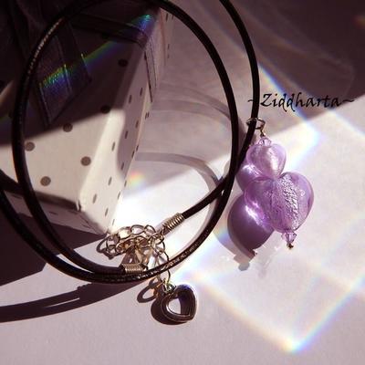Double Heart Doppelt Herz Necklace Lavendel SF Lampwork Hjärta Lilac Swarovski Crystals Necklace LampWork SilverFoil - Handmade by Ziddharta