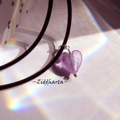 SINGLE Heart Herz Necklace Lavendel SF Lampwork Hjärta Lilac Swarovski Crystals Necklace LampWork SilverFoil - Handmade by Ziddharta Sweden