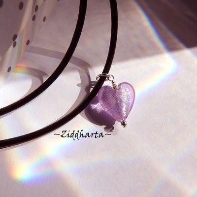 SINGLE Heart Herz Necklace Lavendel SF Lampwork Hjärta Lilac Swarovski Crystals Necklace LampWork SilverFoil - Handmade by Ziddharta Sweden