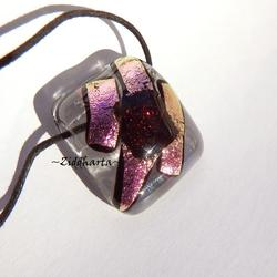 Fused Dichroic PINK Necklace OOAK Unique! Metallic Pink Necklace Ruby Red Glittering Dichroic Pendant Cord Necklace by Ziddharta #134