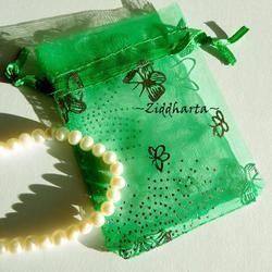 Smyckepåse: Organza Emerald Grön 9x7cm