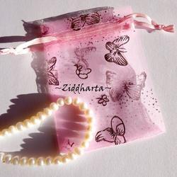 Smyckepåse: Organza Rosa 9x7cm
