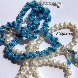 #17 Unikt: SkyBlue & Turquoise Mother of Pearl - Beaded Rope Swarovski Crystals: Hearts