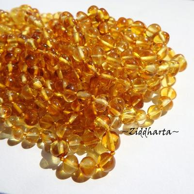 Rundad Semi-rund Bärnsten /Amber: 10st pärlor - Honung - Grade A - ca 5mm