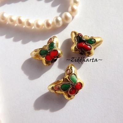 1 Cloisonné pärla: Gold Guld berlock Fjäril / Butterfly #44