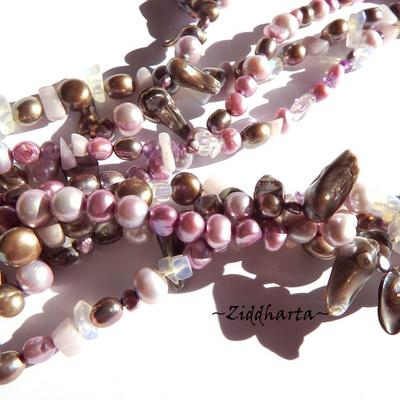 Gemstone Necklace Freshwater pearls Necklace 3-strands Necklace - Handmade Jewelry by Ziddharta