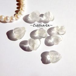 1st Hjärta ca 12mm - SF White VITT vita SilverFoil LW - Handmade HEART Lampwork Beads