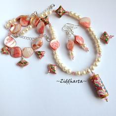 SET Necklace Bracelet Earrings OOAK Cloisonné Scroll Pendant MOP - Pearls Swarovski Crystals - Handmade Jewelry and Beadings by Ziddharta