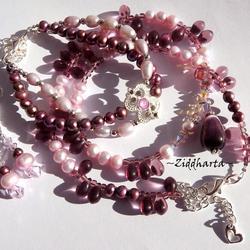 SET Necklace Bracelet Earrings - CatEye Drop Pendant Freshwaterpearls Swarovski Crystals - Handmade Jewelry and Beadings by Ziddharta