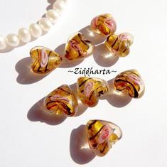 1-3-5st Hjärta ca 12mm - GOLD Randat - Handmade HEART Lampwork Beads Handblåsta Glaspärlor