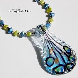 Set Necklace, bracelet Earrings - LampWork Pendant w SkyBlue & Lime Freshwaterpearls - Handmade Jewelry and Beadings by Ziddharta