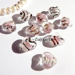 1-3-5st Hjärta ca 12mm - WHITE PINK Randat - Handmade HEART Lampwork Beads Handblåsta Glaspärlor