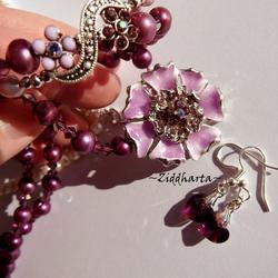SET Necklace Bracelet Earrings - Enamel Flower Pendant Rhinstones Purple Pink - Handmade Jewelry and Beadings by Ziddharta