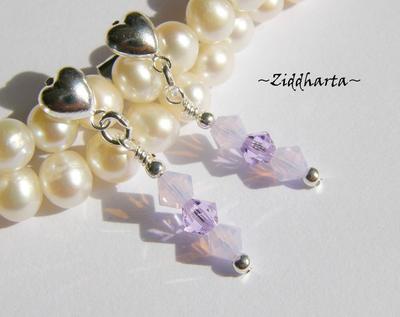 1 par Hjärte Örhängen Swarovski Crystals: Violet & VioletOpal