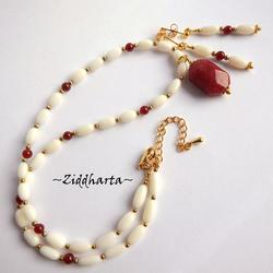 "#30 SET Necklace Earrings OOAK ""Red CadyJade"" Necklace White Coral Beads Necklace Red Gems Necklace - Handmade Jewelry and Beadings by Ziddharta"