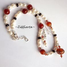 "#31 Set Necklace Earrings LampWork Necklace ""Red Magma"" Necklace White Freshwater Pearls & Swarovski Necklace - Handmade Jewelry by Ziddharta"