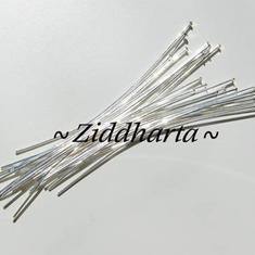 ca100 st! Silverpläterade 5cm Hattpinnar 0,6mm -Smyckestillverkning: SP Hatpins