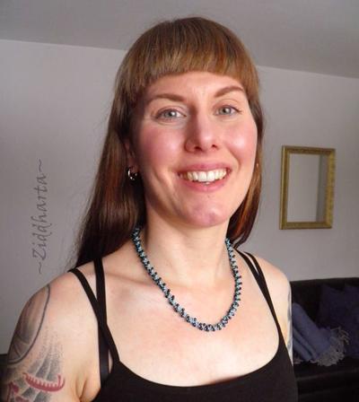 "#32 Turquoise Dk Indigo Necklace ""Indigo Swirl"" Necklace DNA-spiral Necklace Miyuki Seed Beads Necklaces - Handmade Jewelry by Ziddharta"