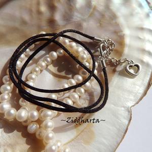 1-3-5st AS Heart CHARMS: Svart Smyckesrem Satin Silk - inklusive lås, förlängningskedja!