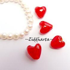 1-3-5st Hjärta ca 12mm - RED Love Valentine Alla Hjärtans dag - Handmade HEART Lampwork Beads Handblåsta Glaspärlor