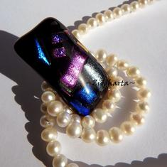 95 Dichroic Cabochon ca38x20mm: Universe Magic