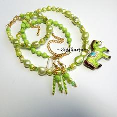 SET Necklace Bracelet Earrings - Apple Green Cloisonné Horse Pendant Swarovski Crystals - Handmade Jewelry and Beadings by Ziddharta