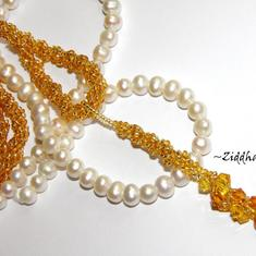 #11 Unikt: Golden Swarovski & Amber - Beaded Rope Swarovski Crystals: Hearts