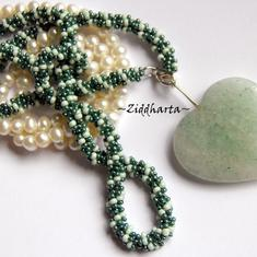 #12 Unikt: Big Green Adventurine Heart - Beaded Rope Swarovski Crystals: Hearts