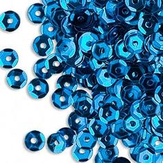 250-300 Gnistrande BLÅ paljetter - 5mm kupade